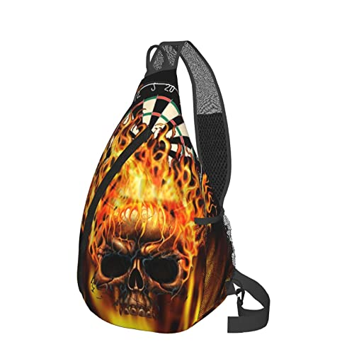 Sling Rucksack Anti-Diebstahl Schulter Brust Crossbody Tasche Casual 3D Print Travel Daypack, Dartscheibe Flaming Skull schwarz, Einheitsgröße