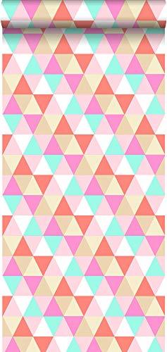 behang driehoekjes roze, turquoise en koraal rood - 138714 - van ESTAhome