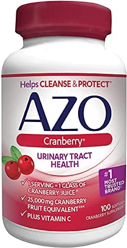 AZO Cranberry Urinary Tract Health Dietary Supplement, 1 Serving = 1 Glass of Cranberry Juice, Sugar Free, 100 Count