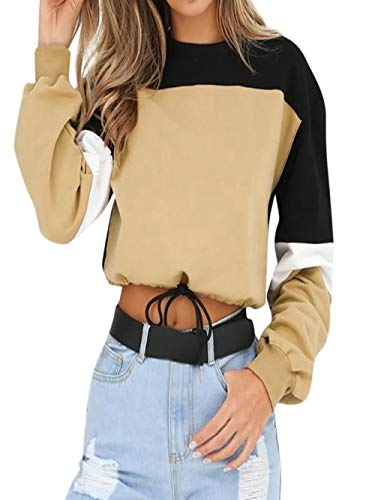 Find Bargain HNTDG Womens Casual Crewneck Color Block Long Sleeve Splcing Color Sweatshirt Pullover ...