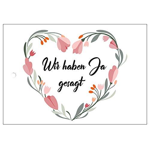 Ballonflugkarten zur Hochzeit - 50 Stück - gelocht, schöne leichte Ballonkarten - Motiv Herz Blumen - für einen weiten Flug im Postkarten-Format für Luftballons und Herzluftballons
