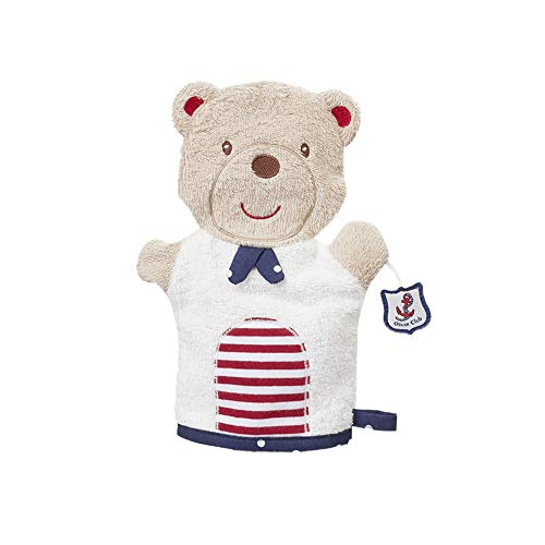 Fehn 078817 Waschhandschuh Teddy / Waschlappen mit Tiermotiv für fröhlichen Badespaß, für Babys und Kinder ab 0+ Monaten