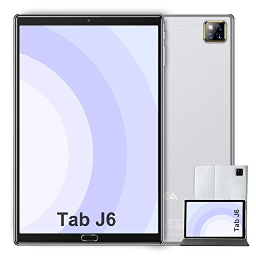 Tablet 10 Pollici Android 10.0 - RAM 4GB   ROM 64GB - WIFI -Octa core (Certificazione GOOGLE GMS) -JUSYEA Tablets - 6000mAh Batteria - Custodia di Alta Qualità(Argento)