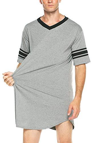 FEOYA Chemise de Nuit Homme à Manches Courtes Doux Pyjama Homme en Coton Col V T-Shirt Long Printemps Eté Gris Taille XL