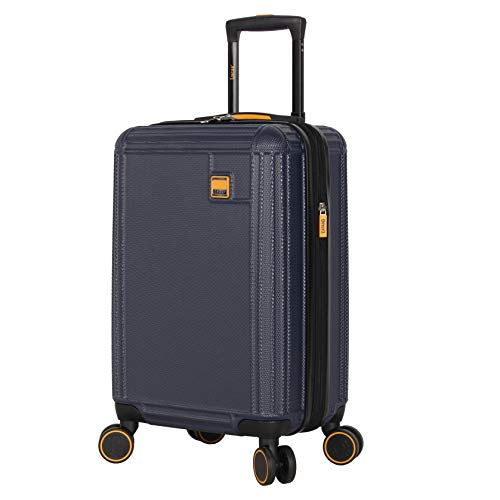 Lucas 20 Inch Carry On Luggage Collection - Expandable Scratch Resistant (ABS + PC) Hardside Suitcase - Designer Lightweight Bag with 8-Rolling Spinner Wheels (Blue)