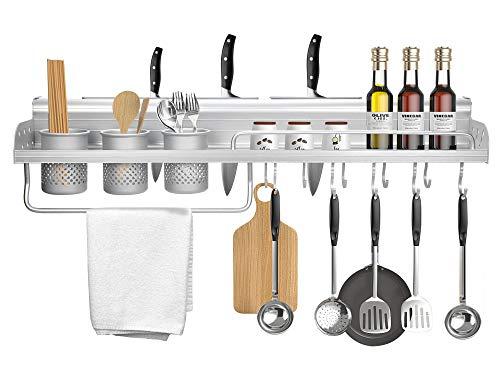 KINLO Multifunktionales Küchenregal Küchenablage Wand Organizer - Messerhalter Gewürzregal Handtuchhalter Besteckregal - mit 2 Flaschenregal und 10 Haken, Silber, Aluminium