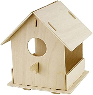 ROBOTIME Wooden Bird House Kits for Painting 3D Wooden Puzzle Grown-Up Toys for Boys and Girls' Scout Activity