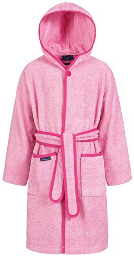 Morgenstern Baumwoll Kinderbademantel mit Kapuze einfarbig, Gr. 122/128,Rosa Pink