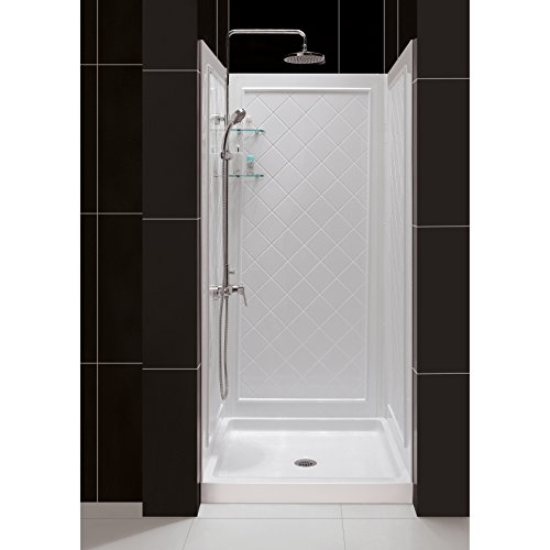 DreamLine 32 in. D x 32 in. W x 76 3/4 in. H Center Drain Acrylic Shower Base and QWALL-5 Backwall Kit In White, DL-6195C-01