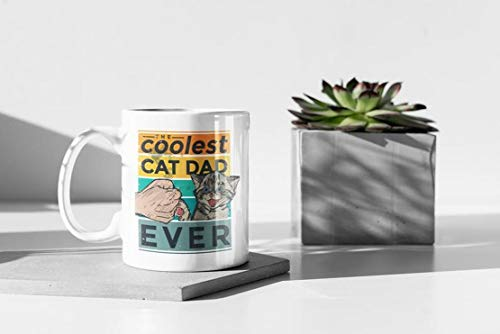 The Coolest Cat Dad Ever Mug, Best Cat Dad Mug Mug With Handle, Insulated Ceramic Reusable Coffee Cup, Coffee Travel Mug