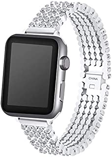 Ozone 38mm Apple Watch Strap Rhinestone Diamond Stainless Steel Replacement Band For 38mm Series 1/2/3 - Silver