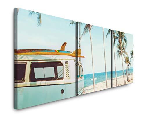 SIN-US 74 Vintage Auto auf einem tropischem Strand Bild XXL Panorama Deko Wandbilder 150x50cm - 3 Bilder a 50x50cm