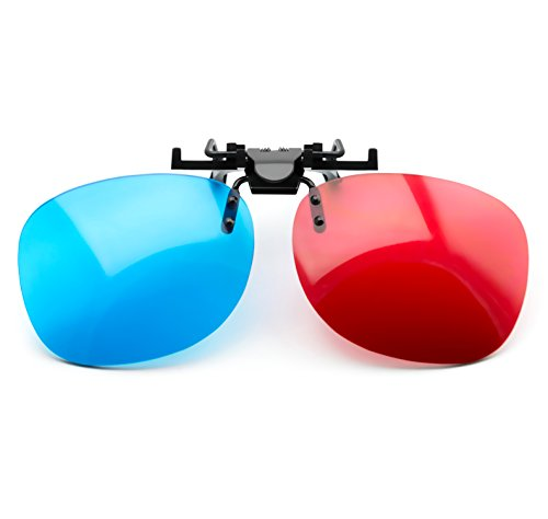 PRECORN Gafas 3D Rojo/Cian Clip-On para usarios de Gafas (Gafas 3D-Anaglyph) para TV 3D y Juegos 3D
