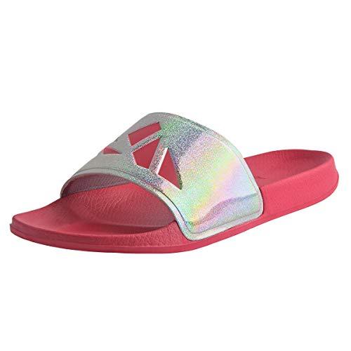 Knixmax-Chanclas Unisex Adulto, Zapatos de Playa y Piscina Unisex Adulto Sandalias de Punta Descubierta Ducha y Baño Chanclas Antideslizante, W-Rosa-38