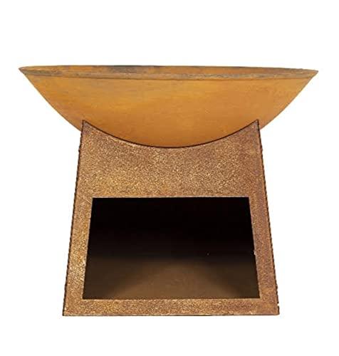 Moderna hoguera Karinta de hierro fundido con tienda de troncos - Efecto oxidado (quemador de troncos de jardín, gran calentador de patio, chimenea de barbacoa)