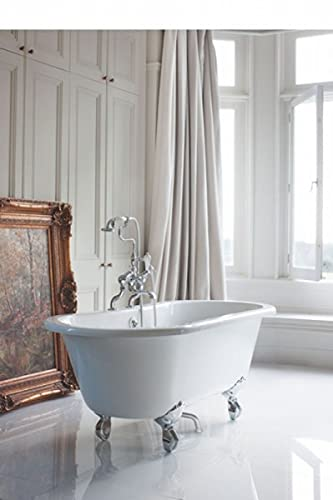 Casa Padrino Jugendstil Badewanne freistehend 1500mm BWin Weiß - Freistehende Retro Antik Badewanne, Badewannen Füsse:Standard Traditional Silber