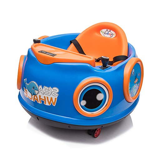 sopbost 6V Kids Ride On Toy Electric Ride On Bumper Car with Remote Control, 360 Spin, Music & Story, Small Dinner Table Ride on Toys for Toddlers (Blue)