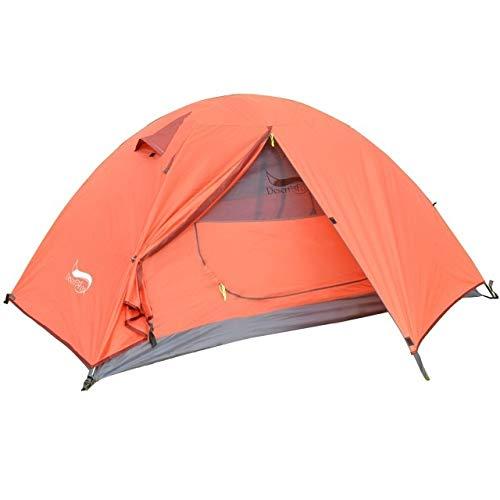 HDS Désert et Fox Tente Camping Backpacking, Léger 1-3 Personnes Tente Double Couche imperméable Polonais en Aluminium Portable Tentes Voyage (Color : 1 Person tent Orange)