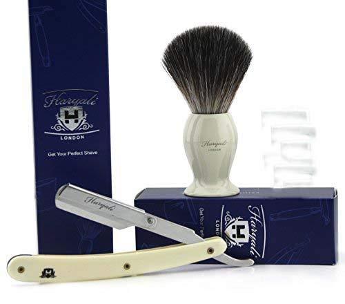 3 Stück Herren Rasierpinsel Set in Elfenbein. Schwarz Dachshaar Rasierpinsel, Barber Style Rasiermesser