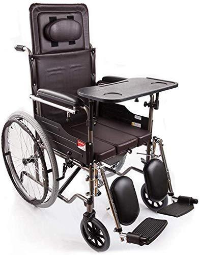 HYY-YY Silla de ruedas silla de ruedas semi-tumbado ligero transporte plegable portátil silla de viaje tubo de acero refuerzo punción colisión transporte orinal tabla versión manual