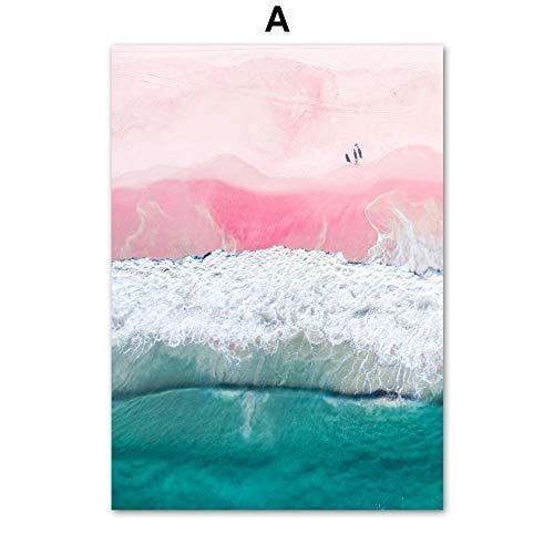 UIOLK HD Leinwand Malerei Leuchtturm Pink Beach Sea Bridge Kreative Wandmalerei Nordic Poster Malerei Druckgrafik Dekorative Malerei Wand Geschenk Ideal
