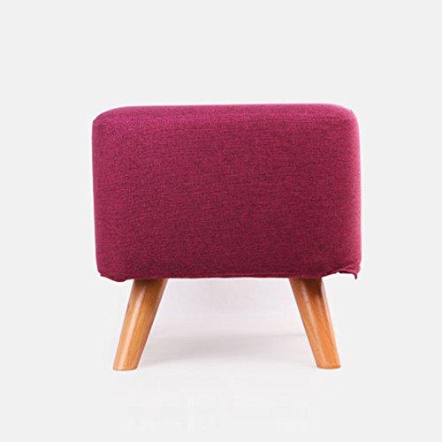 Pouf Repose-pieds ZEMIN Tabouret Pouf Carré Repose-pieds Canapé Chaise Seat Table Doux Bois Massif Jambes Changer De Chaussures, 5 Couleurs Disponibles, 40x40x39.5CM (Color : Purple)