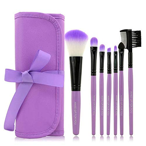 MEIYY Make-up borstel Professionele 7 Stks Make-up Borstels Set Gereedschap Make-Up Toiletry Kit Merk Make Up Brush Set Case Cosmetic Foundation Borstel Paars