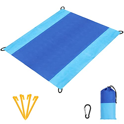 Beach Blanket Sandproof, Oversized Beach Mat 80' X 82' Suitable for 4-7 Adults, Waterproof Lightweight Picnic Mat for Travel, Camping, Hiking