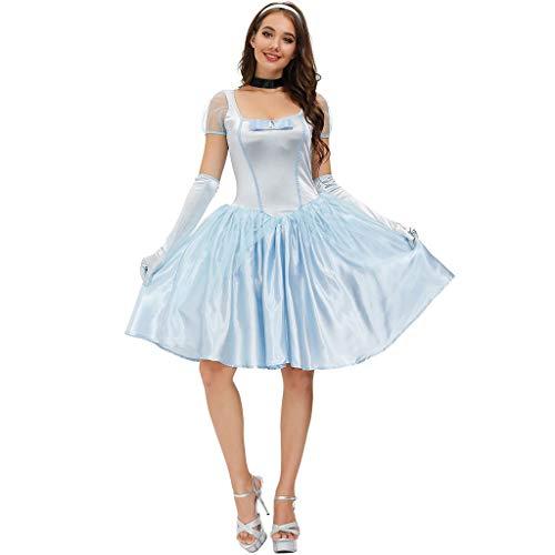 N/A. Disfraz de princesa de cuento de hadas para Halloween, disfraz de princesa de seda de imitacin, color azul