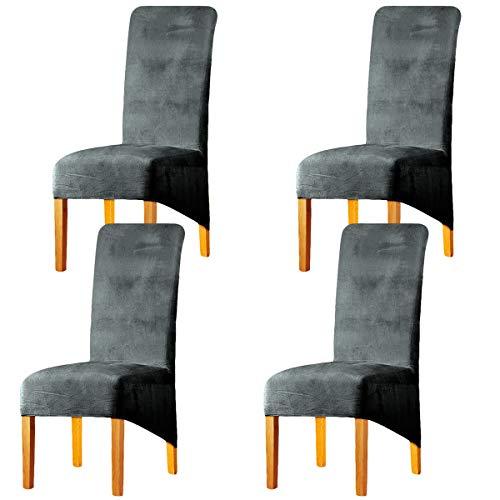 LANSHENG Stretchy XL Stuhlbezüge für Esszimmerstühle, Stretch Spandex mit Gummiband Stuhlbezug,Velvet Large Dining Chair Schonbezüge für Restaurant Hotel Party Bankett (Silber grau,4er Set (Groß))