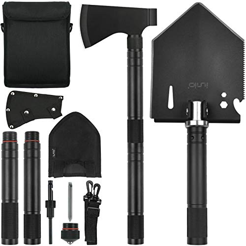 iunio Folding Shovel and Camping Axe Tool Kit with Carrying Bag Multitool Spade Survival Hatchet for Camping Hiking Backpacking Entrenching Car Emergency