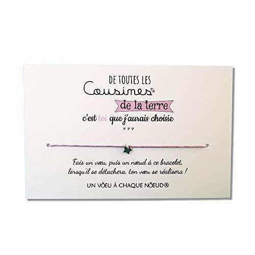 Carte de Voeux Cousine + Bracelet porte-bonheur - Fabriqué en France - Idée cadeau original