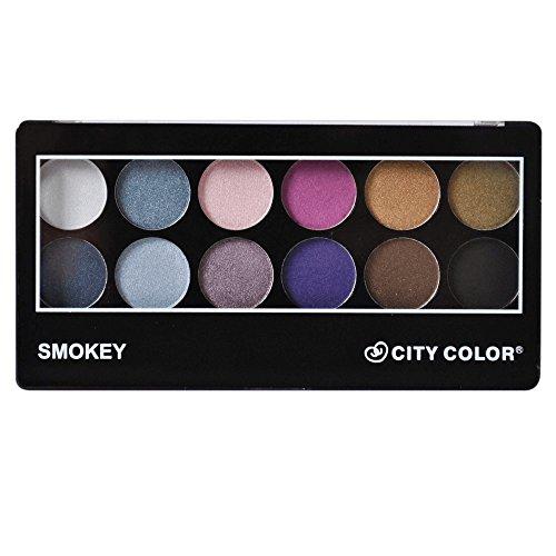 CITY COLOR 12 Color Eye Shadow Palette - Smokey Palette