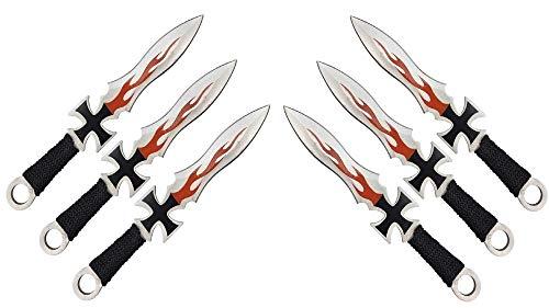 KOSxBO® *6er* Wurfmesser-Set Eiseners Kreuz Darts Wurfmesserset Germania Edition Kunai Messer ca. 17,5 cm inkl 2 Holster - rostfrei - Gürtelmesser German Knifes