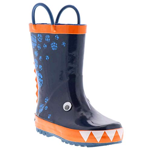 Northside Boys' Bay Rain Boot, Blue/Orange, 10 Medium US Toddler