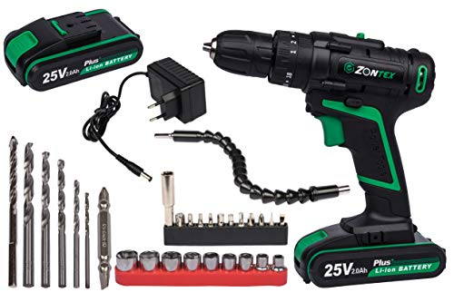 Zontex - Ergonomic 2-speed drill with 25 V power supply, the set contains 2 x 2Ah batteries together with the charger and accessories. (25 V)