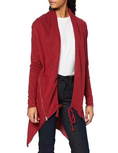Urban Classics Damen Ladies Terry Cardigan Mantel, Rot (burgundy 606), 38 (Herstellergröße: M)