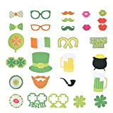 Amosfun 29 St. Patrick Day Foto Booth Requisiten Lucky Irish Glass Frame Red Lips Hat Funny Pose...