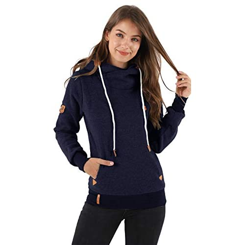Les umes Womens High Cowl Neck Hoodies Sweatshirts Hooded Warm Fleece Long Sleeve Jumpers Outerwear Hoody Jackets Tops with Drawstring