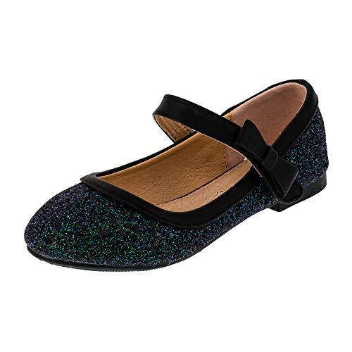 Festliche Mädchen Glitzer Ballerinas Schuhe mit Echt Leder Innensohle M407sw Schwarz 27