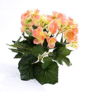 artplants.de Begonia Artificial con 27 Hojas, 9 Flores, Color melocotón, 20cm, Ø 20cm – Flor Decorativa – Planta…