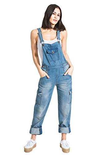 USKEES Damen-Latzhose - Aged Blue Verstellbare Beinlänge Mode Latzhose Denim Ove DAISY1AGED-14