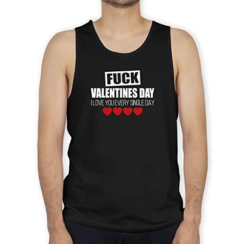 Shirtracer Valentinstag - F*UCK Valentines Day I Love You Every Single Day - weiß/rot - XXL - Schwarz - Fun - BCTM072 - Tanktop Herren und Tank-Top Männer