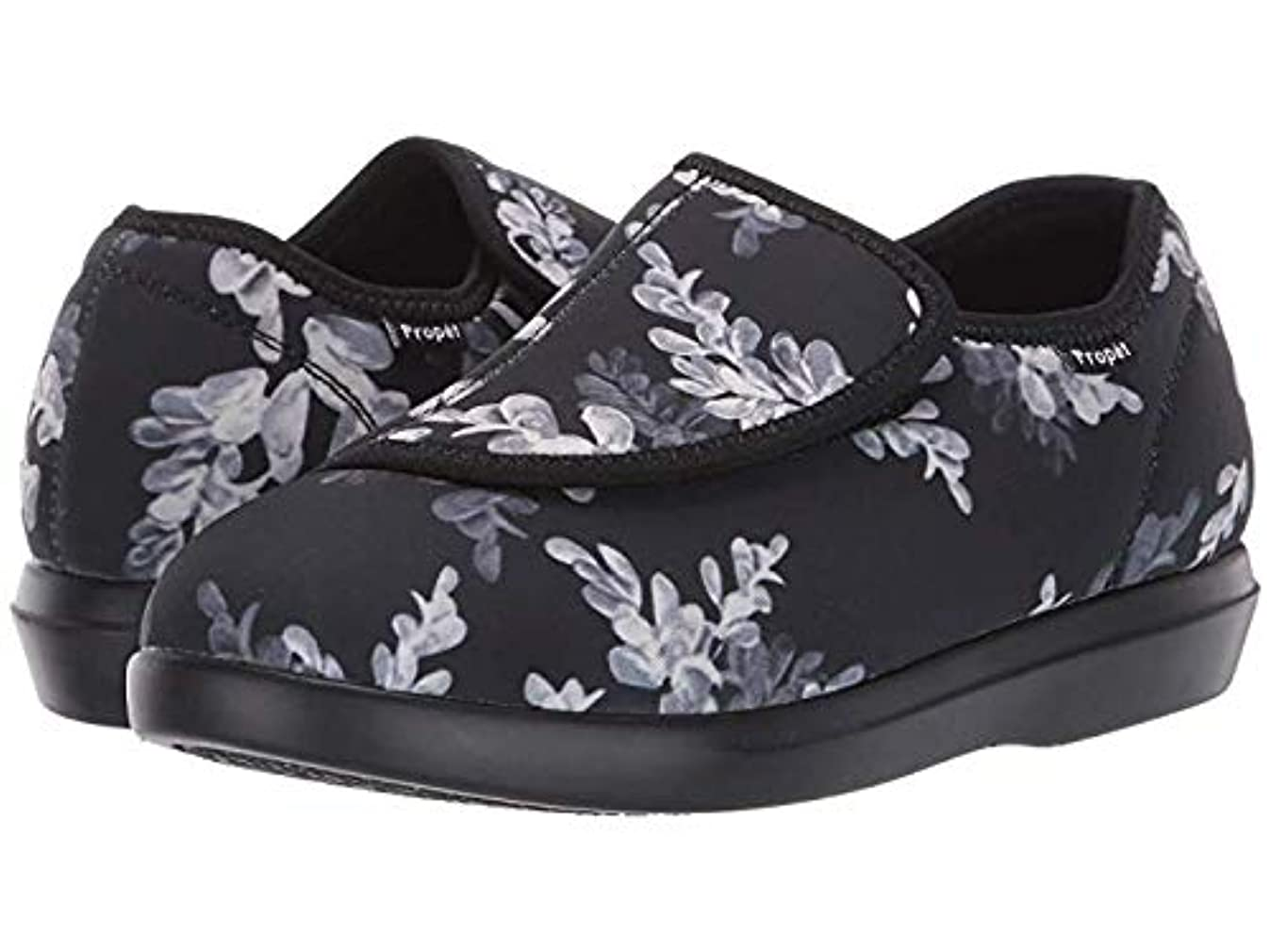 リングバック太字イブ[プロペット] レディースローファー?靴 Cush 'N Foot Black Floral (23.5cm) XX (4E) [並行輸入品]