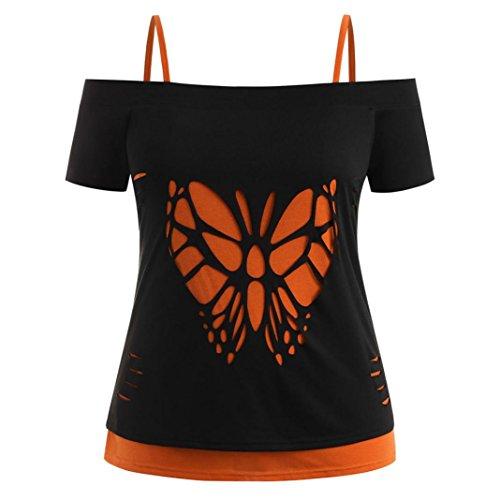 Sommer T-Shirt Damen Kurzes Oberteil Kurze Blusen Tunika Schmetterlinge Hollow Geschnitzt Für Mädchen Frauen (Schwarz, M)