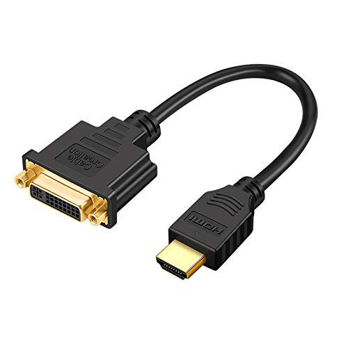 CableCreation HDMI auf DVI-Kabel, 0,15M Bidirektionaler HDMI-Stecker auf DVI-Buchse (24+5), DVI HDMI Konverter, Kompatibel mit HDTV, PS3, PS4, DVD, Unterstützt 1080P, 3D, Schwarz
