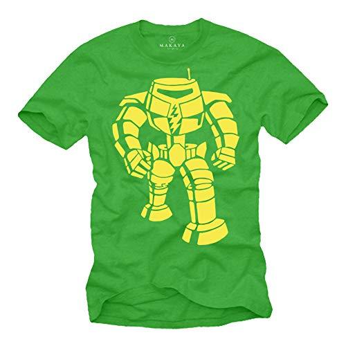 MAKAYA Camiseta Big Bang Manga Corta - Estampado con Robo Theory - T-Shirt para Niños/Hombre Reglo Frikis Verde XL