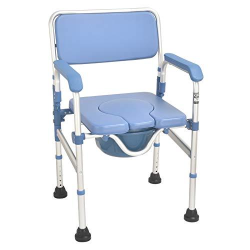 WANGXN Toilettenstuhl Mit Rollen, Gummispitzen Höhenverstellbarer Toilettenstuhl für Behinderte, Behinderte, Senioren, Klappbare, Armlehnen, Ergonomischer Sitz,