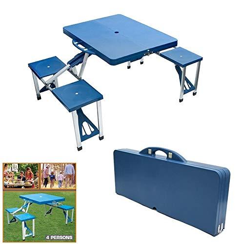 BENSON Alu Sitzgruppe für 4 Personen, Campingtisch, Koffertisch, Gartentisch, Klapptisch, Picknicktisch 4X integrierten Sitzen - Klappbar