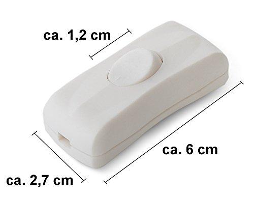 edi-tronic Schnurschalter weiß 2A 250V Schnurzwischenschalter Lampe Schalter Lampenschalter